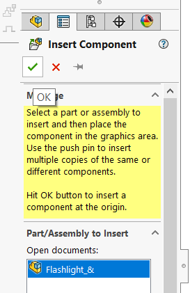 Inserting subassembly into SOLIDWORKS assembly