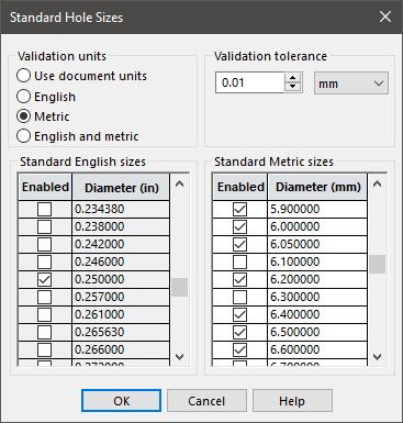 Standard hole sizes in DFMXpress