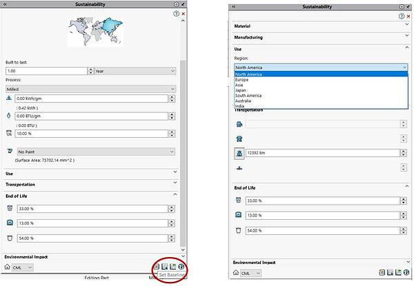 Baseline in SOLIDWORKS SustainabilityXpress