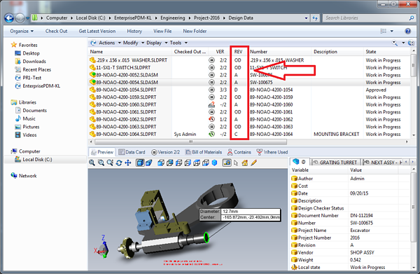 Revision in SOLIDWORKS PDM