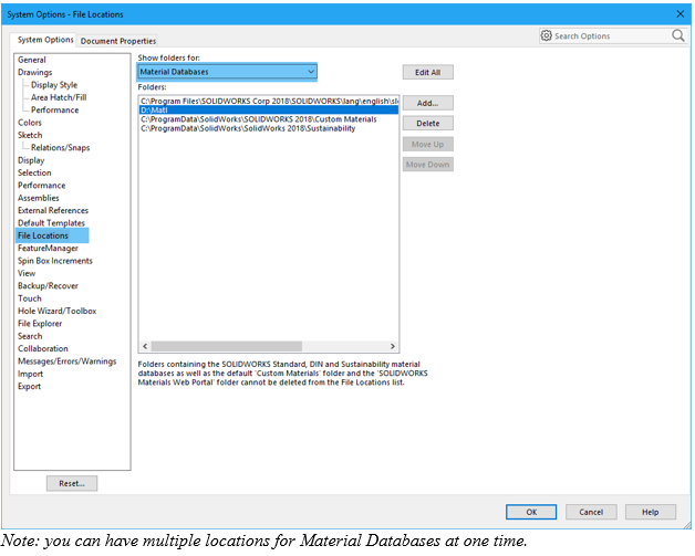 Locate the Material Database in SOLIDWORKS