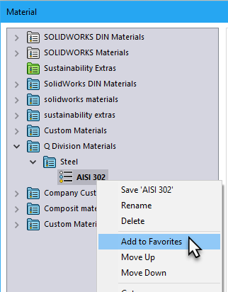Add Material Database to Favorites in SOLIDWORKS