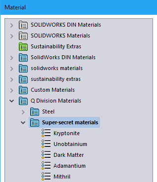 Material Database in SOLIDWORKS
