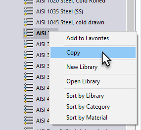 Copy Catagory in SOLIDWORKS