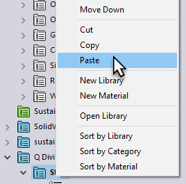 Paste Catagory in SOLIDWORKS