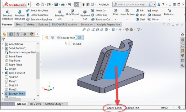 Radius Selection in SOLIDWORKS