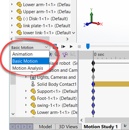 Basic Motion Option in SOLIDWORKS