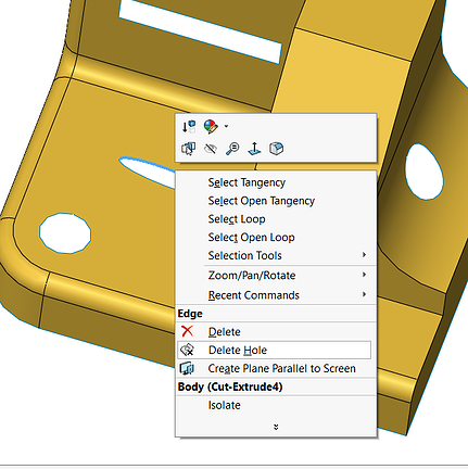 Finding Hole in SOLIDWORKS 2019