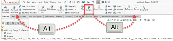 Keyboard shortcut to customize the SOLIDWORKS user interface