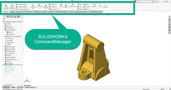 SOLIDWORKS CommandManager