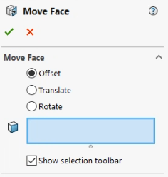 Move face Tools in SOLIDWORKS