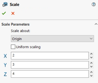 Scale command in SOLIDWORKS