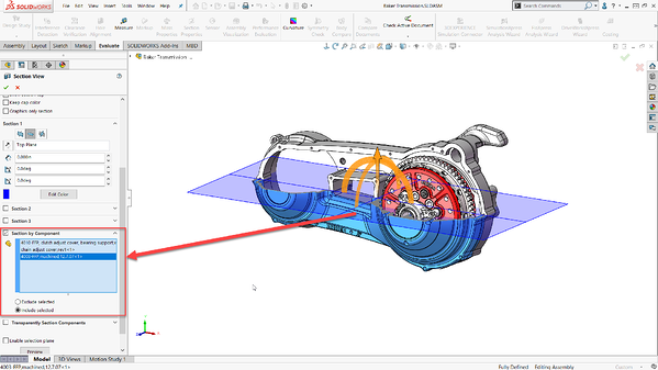 Section views in SOLIDWORKS