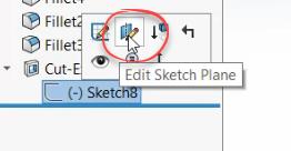 Edit sketch option in SOLIDWORKS