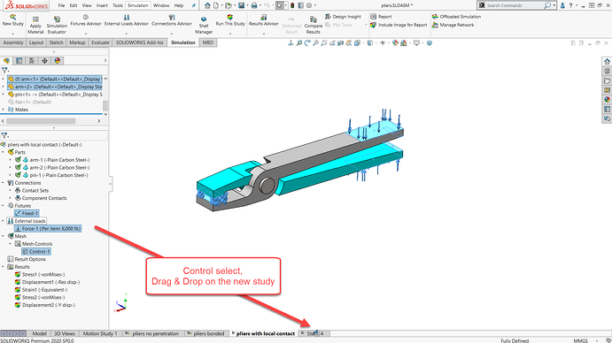 Drag and drop in SOLIDWORKS Simulation