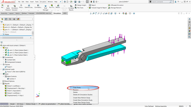 SOLIDWORKS simulation study