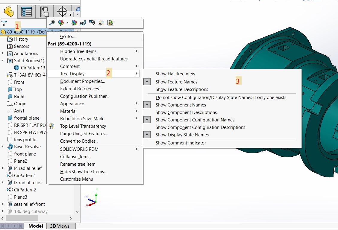 SOLIDWORKS Feature Tree