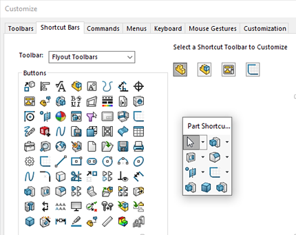 SOLIDWORKS Customize Shortcut Bars