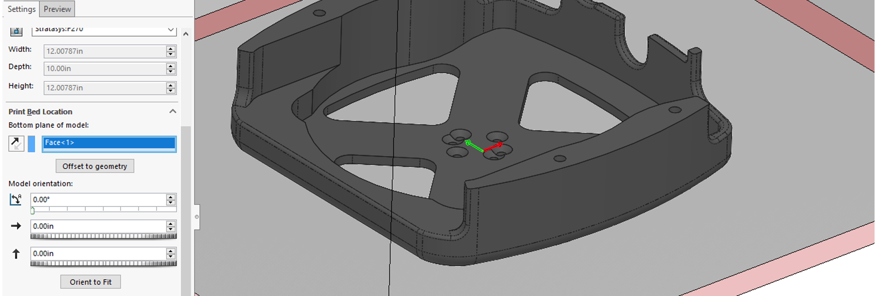SOLIDWORKS 3D Print bed location and orientation