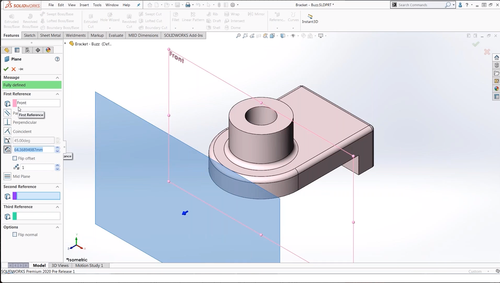 Copy reference plane in solidworks