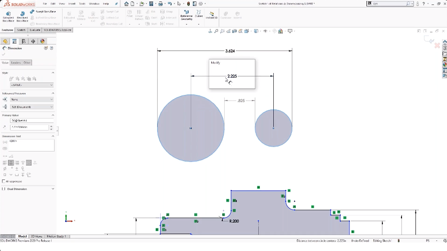SOLIDWORKS Sketch Circle Dimensions