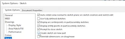SOLIDWORKS create-sketch-on-new=part