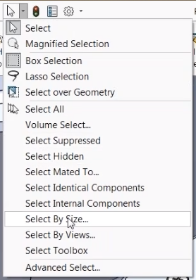 Select by Size SOLIDWORKS Selection Set