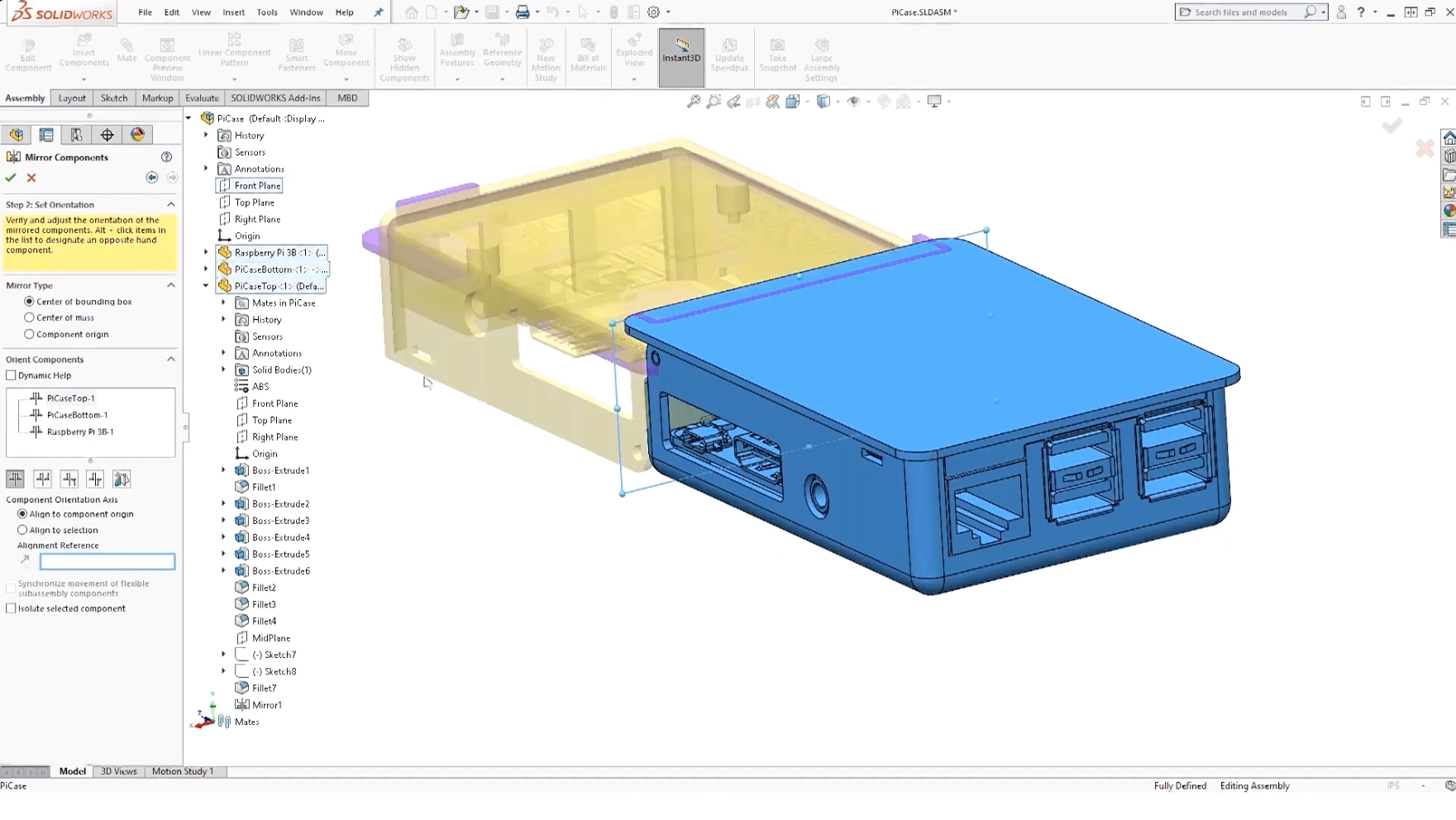SOLIDWORKS Mirror Feature for an Assembly