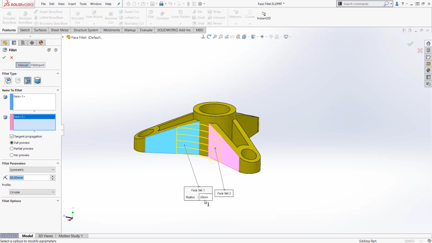 Selecting faces in SOLIDWORKS