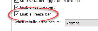 Enable Feature Freeze in SOLIDWORKS