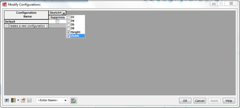 Modify Configurations table