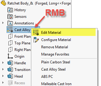 Set part materials in SOLIDWORKS by using FeatureManager