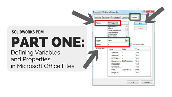 SOLIDWORKS PDM (Part 1): Defining Variables and Properties in Microsoft Office Files