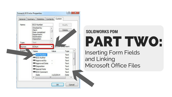SOLIDWORKS PDM (Part 2): Inserting Form Fields and Linking Microsoft Office Files