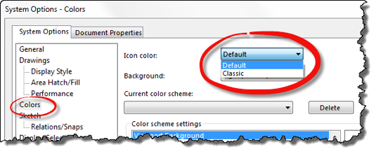 New In SOLIDWORKS 2016: Switch Back To The Classic Icon Colors