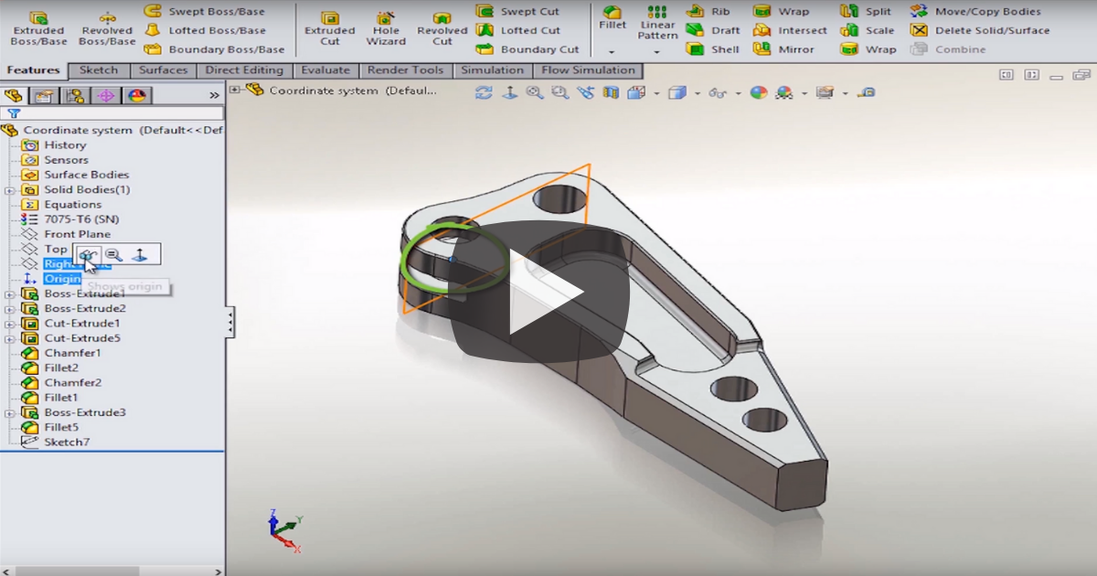 Image of Working with Coordinate Systems in SOLIDWORKS