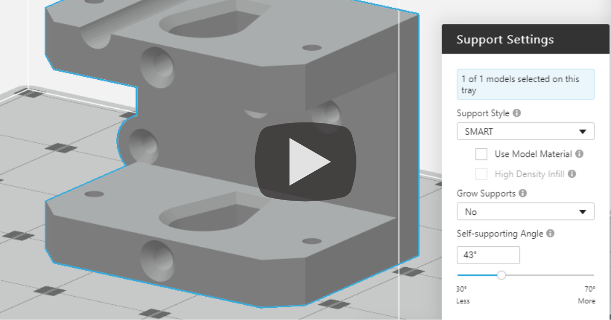 Save Material And Reduce Time - GrabCAD Print SMART Supports for Stratasys FDM 3D Printers