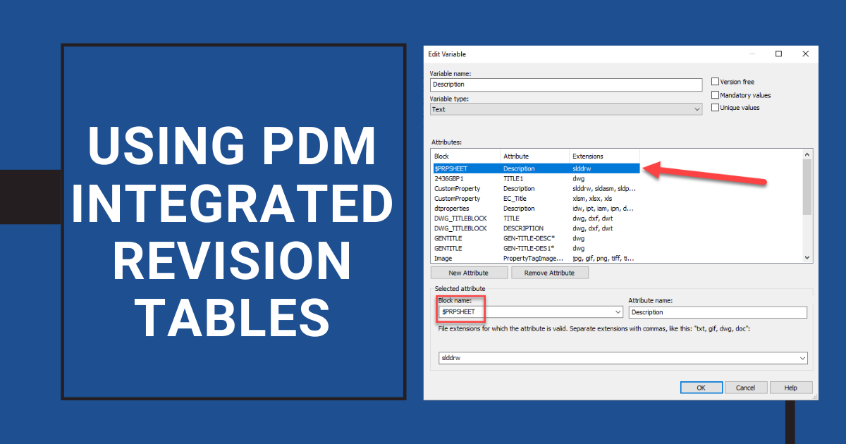 Using PDM Integrated Revision Tables