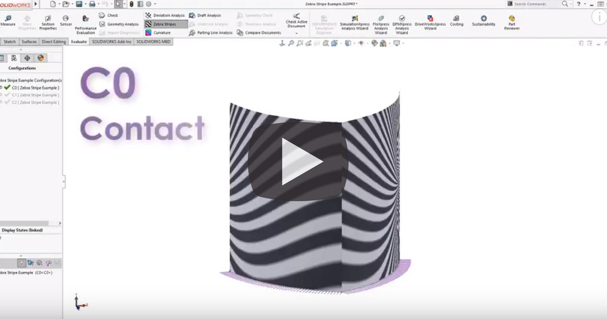 Image of Working with Zebra Stripes in SOLIDWORKS