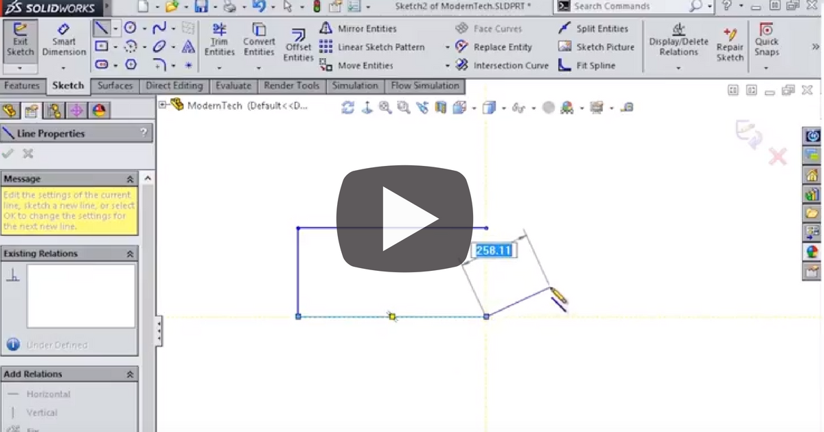 Image of Tangent and Arc Dimensions in SOLIDWORKS