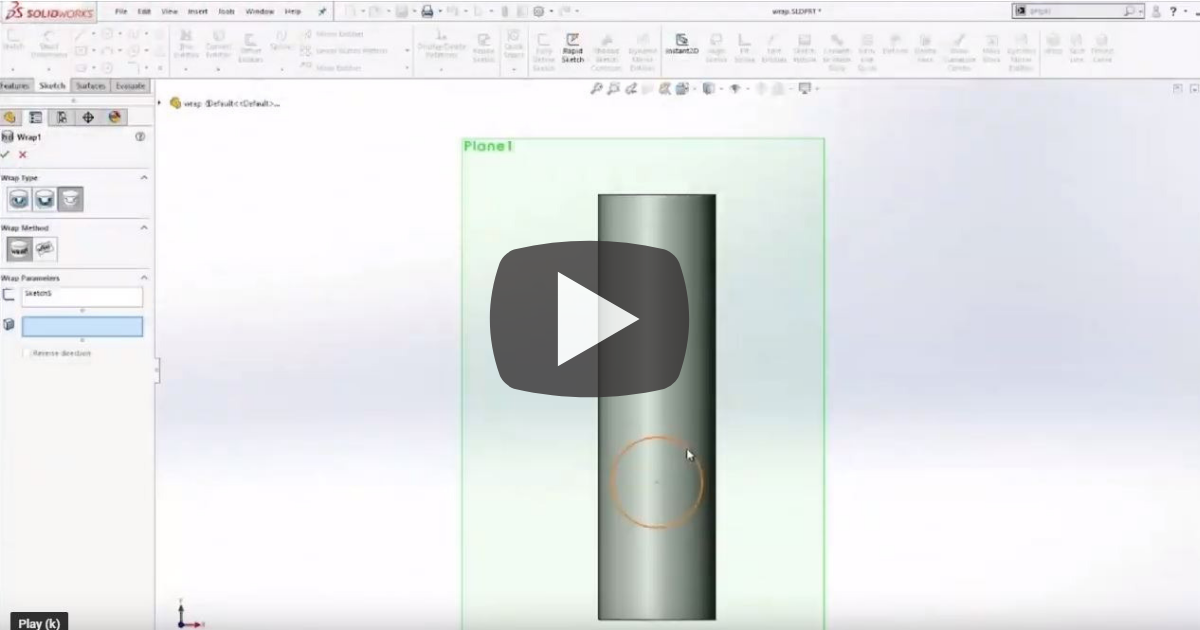 Image of Differences Between Split Line, Project Curve and Wrap in SOLIDWORKS