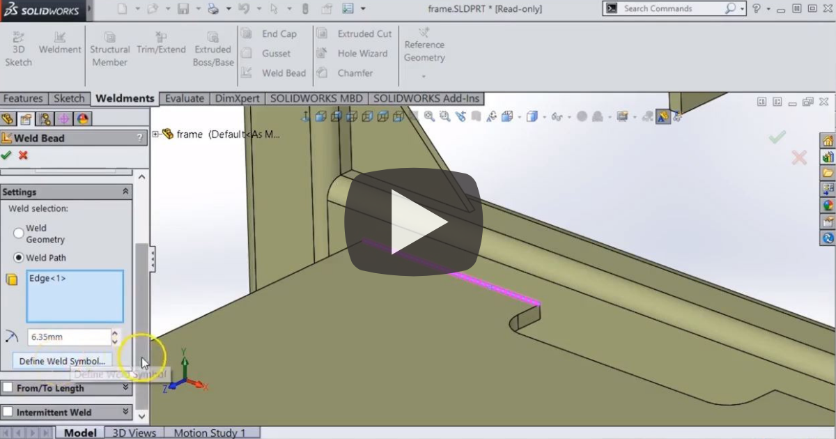 Image of How to Add a Weld Bead to a Weldment in SOLIDWORKS Weldments