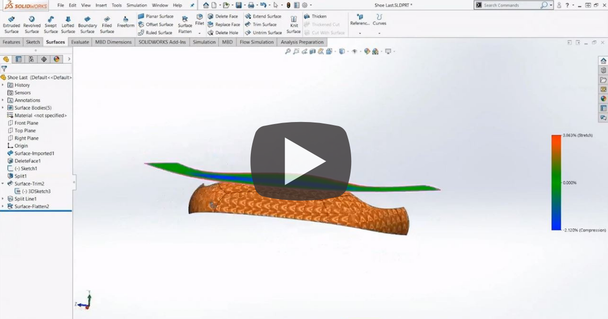 Image of Introducing the Surface Flatten Tool in SOLIDWORKS