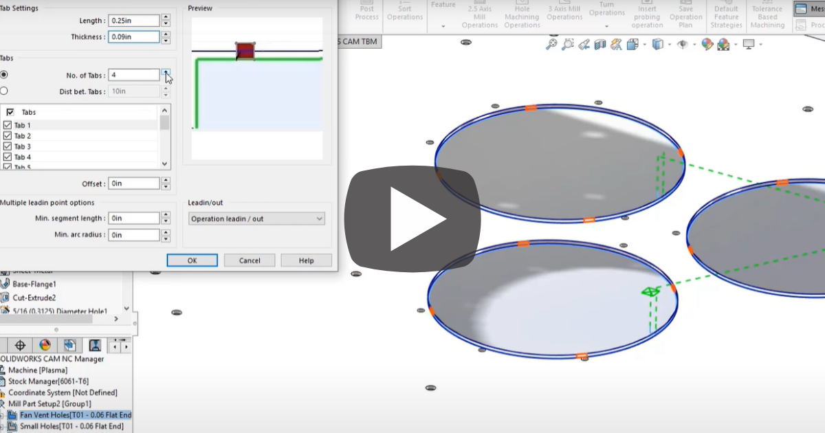 Image of Automatically Generate Tool Paths With Tab Cutting In SOLIDWORKS CAM
