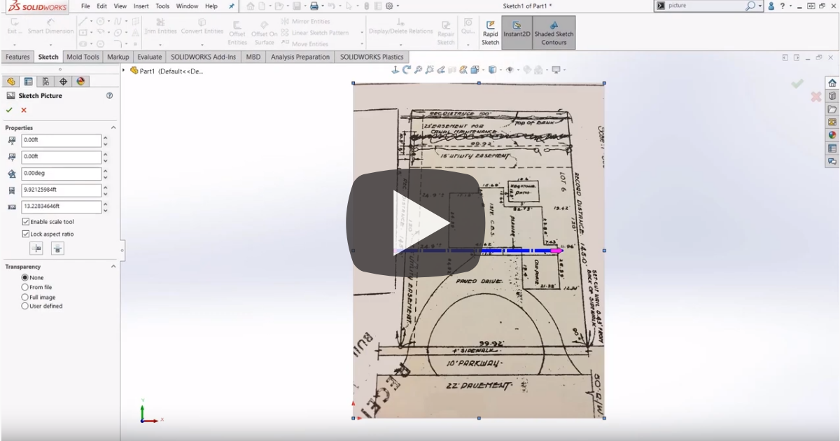 Image of How to Auto-Scale Sketch Pictures in SOLIDWORKS