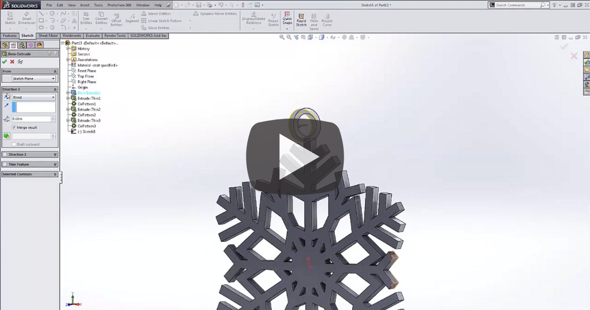 Image of How to Make a 3D Snowflake in SOLIDWORKS 3D CAD