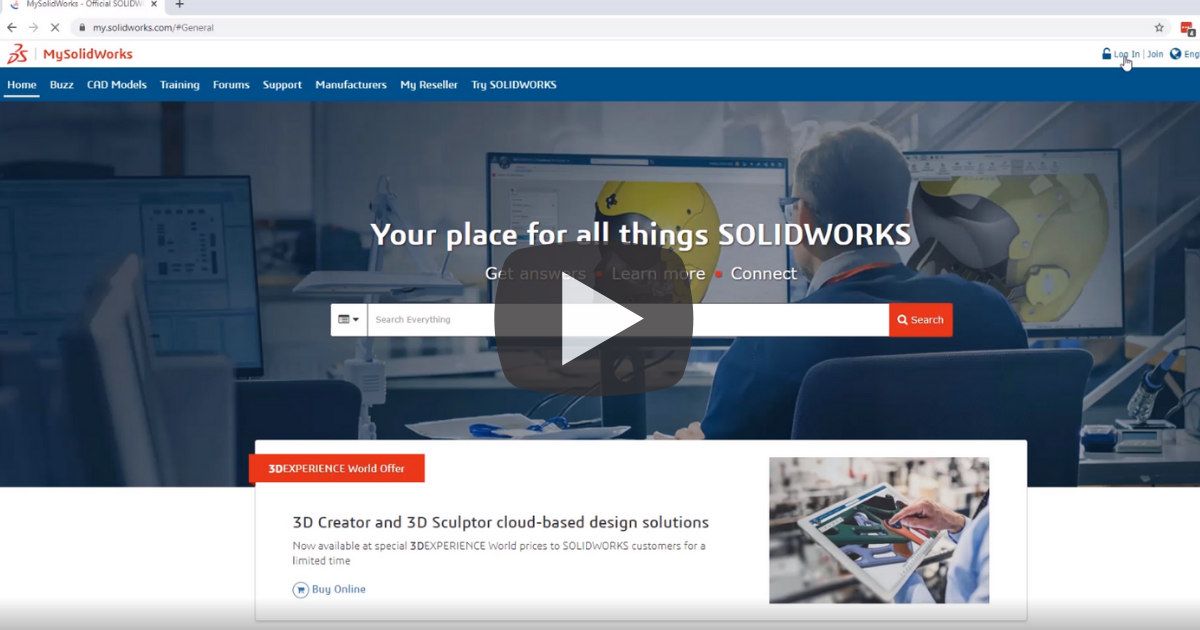 Image of Setting Up Your SOLIDWORKS License Online
