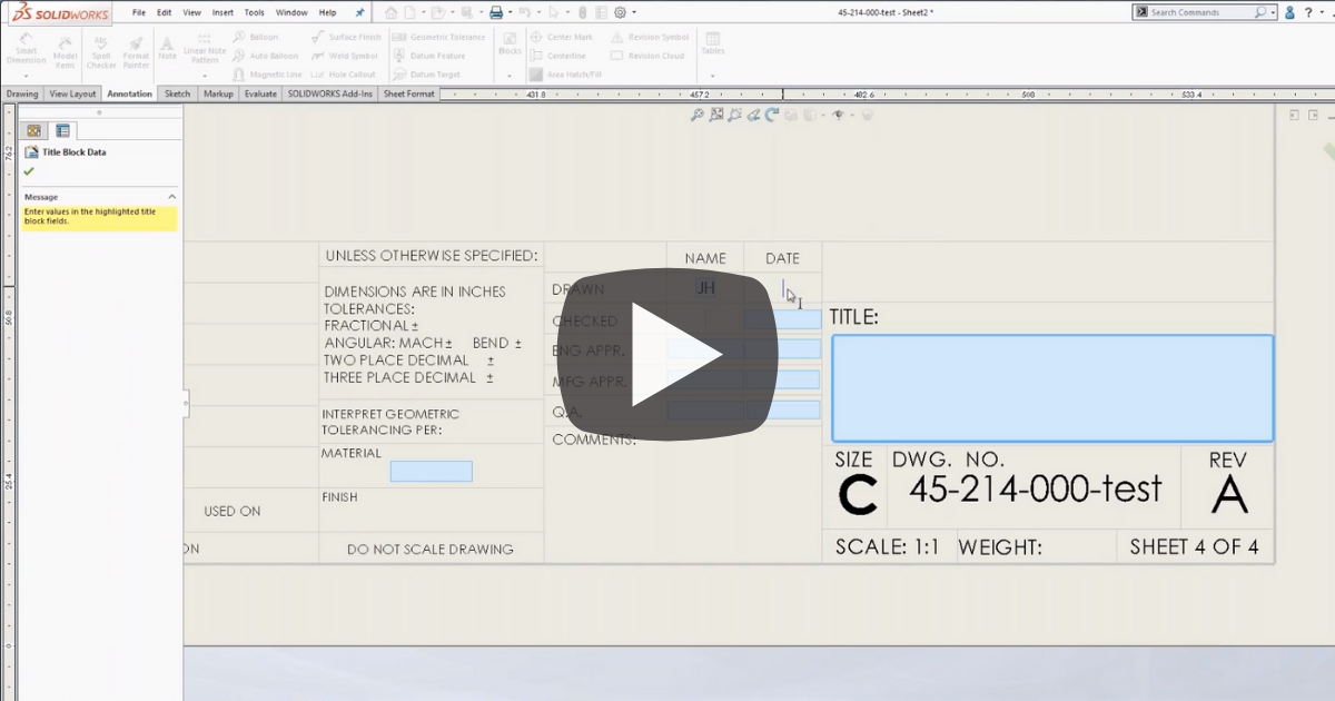 Image of Automate Borders and Title Block Options in SOLIDWORKS