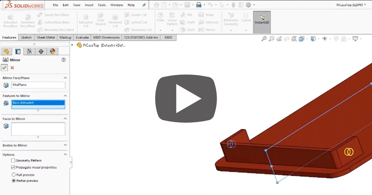 Image of Working with the Mirror Feature in SOLIDWORKS