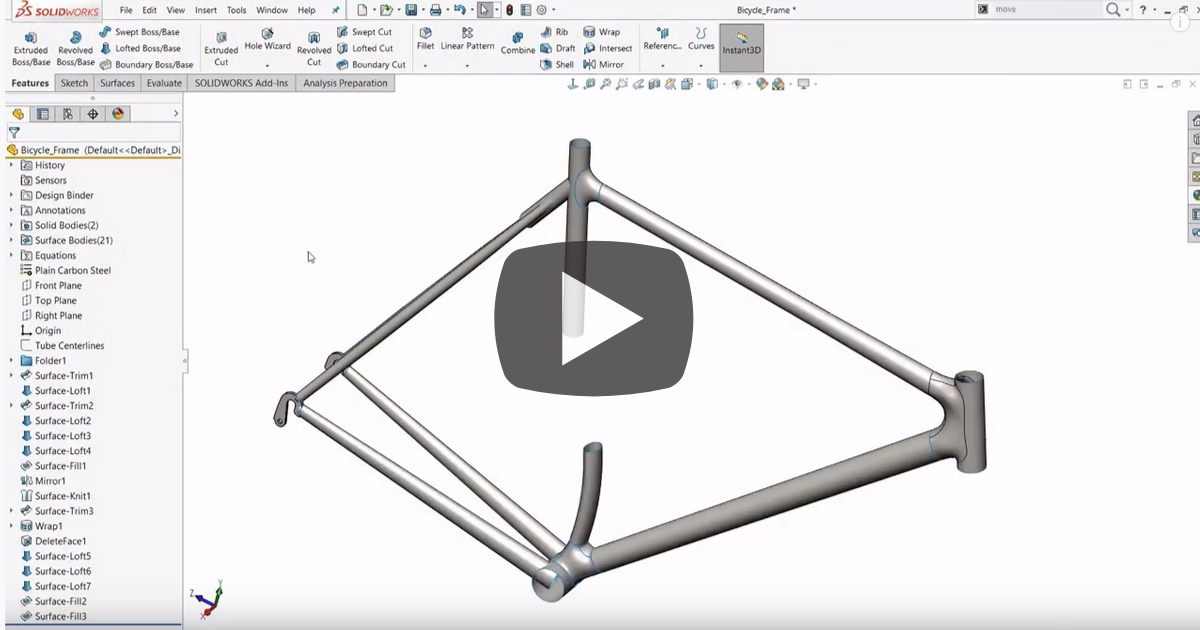Image of Using the Feature Freeze Bar in SOLIDWORKS